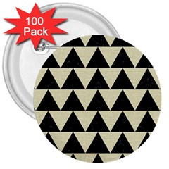 Triangle2 Black Marble & Beige Linen 3  Button (100 Pack) by trendistuff