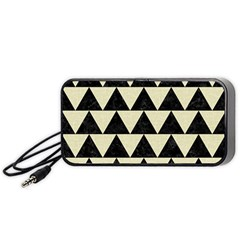 Triangle2 Black Marble & Beige Linen Portable Speaker (black) by trendistuff