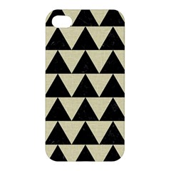 Triangle2 Black Marble & Beige Linen Apple Iphone 4/4s Premium Hardshell Case by trendistuff