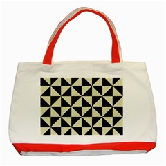 Triangle1 Black Marble & Beige Linen Classic Tote Bag (red) by trendistuff