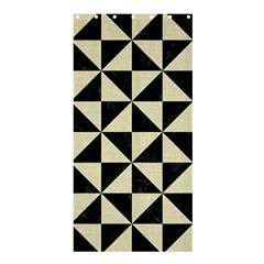 Triangle1 Black Marble & Beige Linen Shower Curtain 36  X 72  (stall) by trendistuff