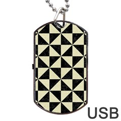 Triangle1 Black Marble & Beige Linen Dog Tag Usb Flash (one Side) by trendistuff