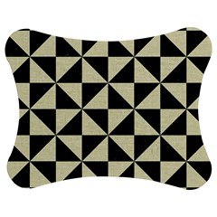Triangle1 Black Marble & Beige Linen Jigsaw Puzzle Photo Stand (bow) by trendistuff