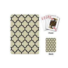 Tile1 Black Marble & Beige Linen (r) Playing Cards (mini) by trendistuff