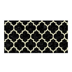 Tile1 Black Marble & Beige Linen Satin Wrap by trendistuff