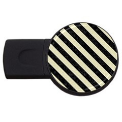 Stripes3 Black Marble & Beige Linen (r) Usb Flash Drive Round (2 Gb) by trendistuff