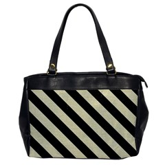 Stripes3 Black Marble & Beige Linen (r) Oversize Office Handbag by trendistuff