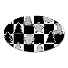 Xmas Checker Oval Magnet