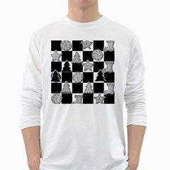 Xmas Checker White Long Sleeve T Shirts