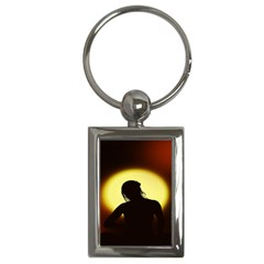 Silhouette Woman Meditation Key Chains (rectangle)