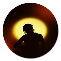 Silhouette Woman Meditation Magnet 5  (round)