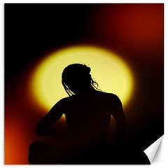 Silhouette Woman Meditation Canvas 16  X 16   by Nexatart