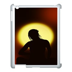 Silhouette Woman Meditation Apple Ipad 3/4 Case (white) by Nexatart