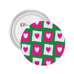 Pink Hearts Valentine Love Checks 2 25  Buttons by Nexatart
