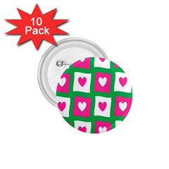 Pink Hearts Valentine Love Checks 1 75  Buttons (10 Pack)