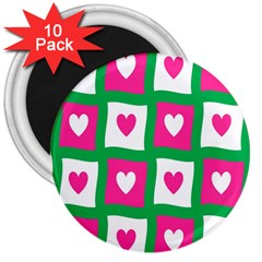 Pink Hearts Valentine Love Checks 3  Magnets (10 Pack)  by Nexatart