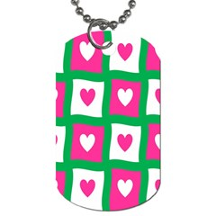 Pink Hearts Valentine Love Checks Dog Tag (two Sides) by Nexatart