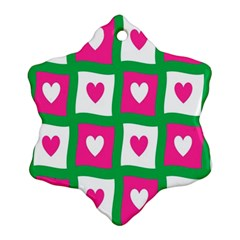 Pink Hearts Valentine Love Checks Snowflake Ornament (two Sides)