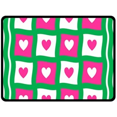 Pink Hearts Valentine Love Checks Double Sided Fleece Blanket (large)  by Nexatart