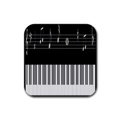 Piano Keyboard With Notes Vector Rubber Coaster (square)