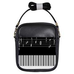 Piano Keyboard With Notes Vector Girls Sling Bags by Nexatart