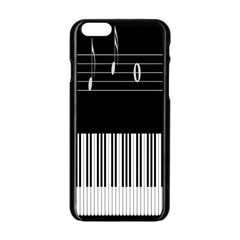 Piano Keyboard With Notes Vector Apple Iphone 6/6s Black Enamel Case