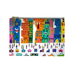 Painted Autos City Skyscrapers Cosmetic Bag (large)  by Nexatart