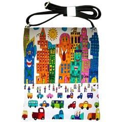 Painted Autos City Skyscrapers Shoulder Sling Bags by Nexatart