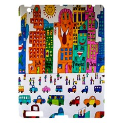 Painted Autos City Skyscrapers Apple Ipad 3/4 Hardshell Case by Nexatart