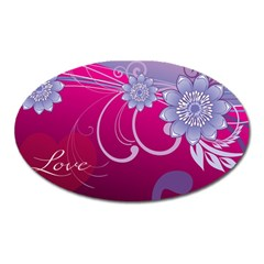 Love Flowers Oval Magnet