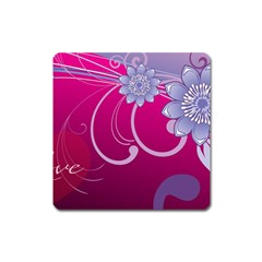 Love Flowers Square Magnet