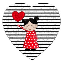 Valentines Day Girl 2 Jigsaw Puzzle (heart) by Valentinaart