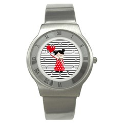 Valentines Day Girl 2 Stainless Steel Watch by Valentinaart