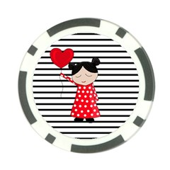 Valentines Day Girl 2 Poker Chip Card Guard (10 Pack) by Valentinaart