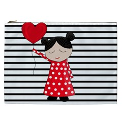 Valentines Day Girl 2 Cosmetic Bag (xxl)  by Valentinaart