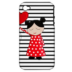 Valentines Day Girl 2 Apple Iphone 4/4s Hardshell Case (pc+silicone) by Valentinaart