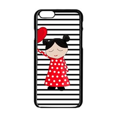 Valentines Day Girl 2 Apple Iphone 6/6s Black Enamel Case by Valentinaart