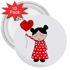 Girl In Love 3  Buttons (10 Pack)