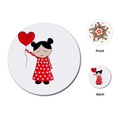 Girl In Love Playing Cards (round)