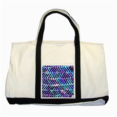 Blue Tribal Chevrons  Two Tone Tote Bag by KirstenStar
