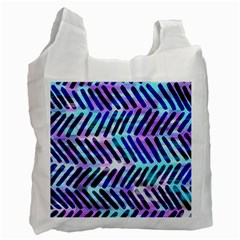Blue Tribal Chevrons  Recycle Bag (two Side)  by KirstenStar