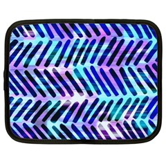 Blue Tribal Chevrons  Netbook Case (xl)  by KirstenStar
