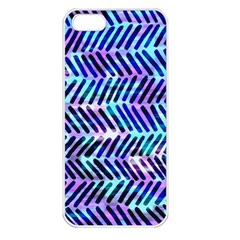 Blue Tribal Chevrons  Apple Iphone 5 Seamless Case (white) by KirstenStar