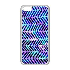 Blue Tribal Chevrons  Apple Iphone 5c Seamless Case (white) by KirstenStar