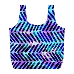 Blue Tribal Chevrons  Full Print Recycle Bags (l)  by KirstenStar