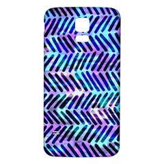 Blue Tribal Chevrons  Samsung Galaxy S5 Back Case (white) by KirstenStar
