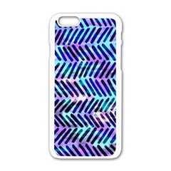 Blue Tribal Chevrons  Apple Iphone 6/6s White Enamel Case by KirstenStar
