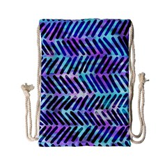 Blue Tribal Chevrons  Drawstring Bag (small) by KirstenStar