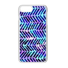 Blue Tribal Chevrons  Apple Iphone 7 Plus White Seamless Case by KirstenStar