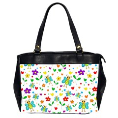 Cute Butterflies And Flowers Pattern Office Handbags (2 Sides)  by Valentinaart
